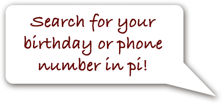 Search for your birthday or phone number in pi.